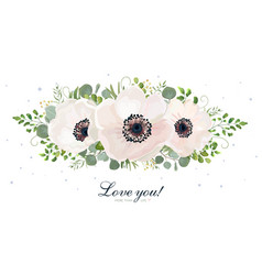 Floral bouquet design with white anemones leaves vector
