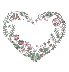 Floral heart frame with isolated flowers herbs vector