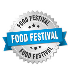 food festival round isolated silver badge vector image