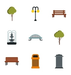 Garden icons set flat style vector image