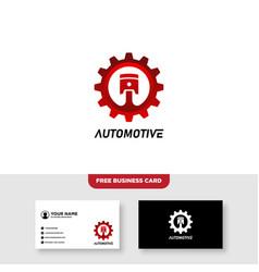 Gear piston automotive logo and business card vector