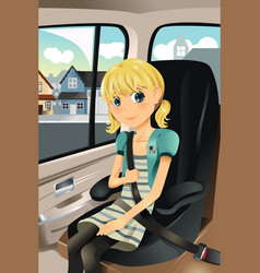 Girl in car seat vector