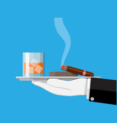 glass of whiskey with cigar and ashtray in hand vector image