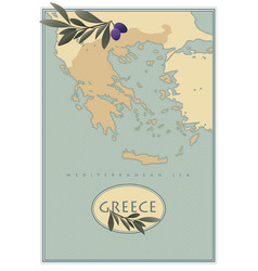 greece map with olives branches and olive leaves vector image