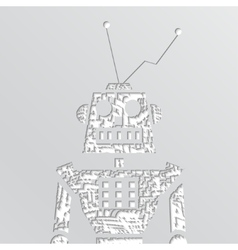 grunge robot doodle on a white background vector image