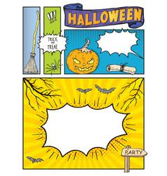 Halloween background mock up comic book vector