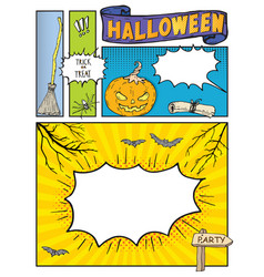 Halloween background mock up comic book with vector