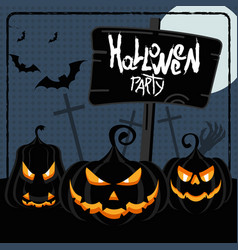 halloween party blue poster vector image