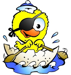 Hand-drawn of an cute baby chicken rowing a boat vector image