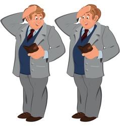 Happy cartoon man standing in gray suite with vector image