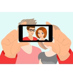 Happy couple taking a snapshot themselves vector