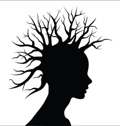Head silouete with tree as hair vector image