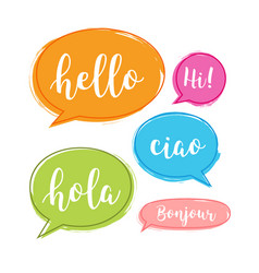 hello bubble in different language english vector image