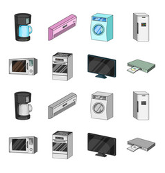 Home appliances and equipment cartoonmonochrome vector