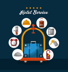 Hotel building taxi and suitcase vector