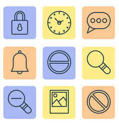 internet icons set with remove clock decrease vector image