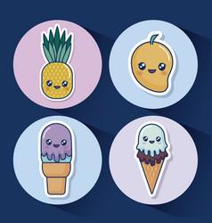 Kawaii food design vector