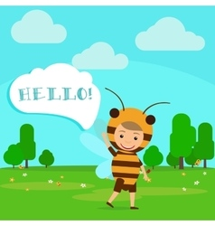 Kid in fancy bee dress vector image