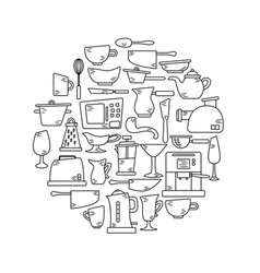 kitchen appliances in lines with doodles vector image