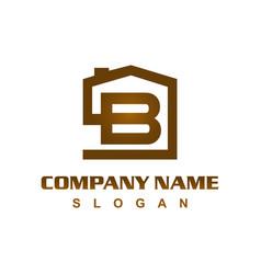 Letter b house logo vector