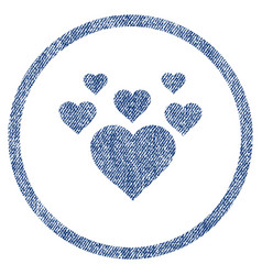 Lovely hearts rounded fabric textured icon vector