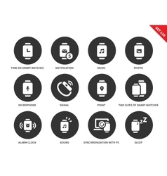Media smartwatch icons on white background vector
