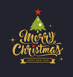 merry christmas lettering gold and green design vector image