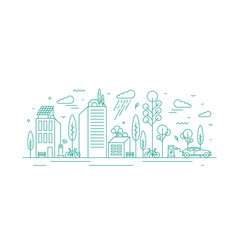 Modern city with ecological infrastructure and vector