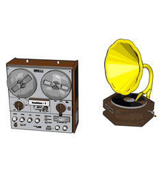 old radio recorder with gramophone on white vector image
