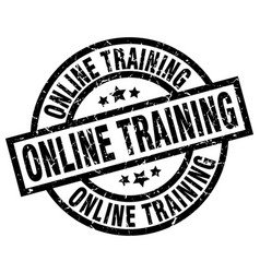 Online training round grunge black stamp vector