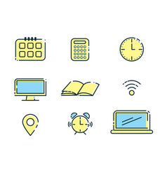 Outline office icons set design elements vector