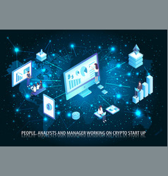 people analyst working on start up poster vector image