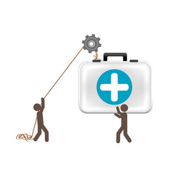 People with pulleys hanging the aid kit vector