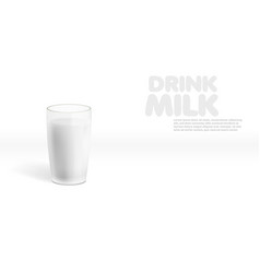 realistic milk in a glass with shadow vector image
