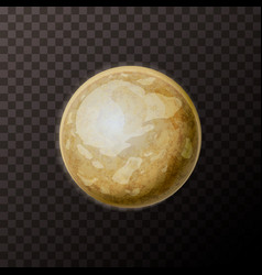Realistic pluto planet with texture on transparent vector