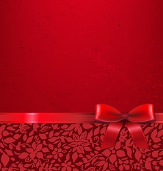 Red Card With Red Ribbon vector image vector image