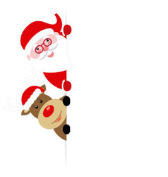 Santa claus and reindeer with poster vector image