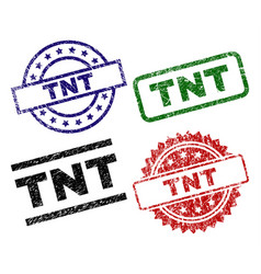Scratched textured tnt seal stamps vector