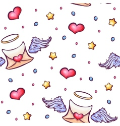 seamless pattern with love letters and vector image