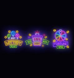Set neon billboard fortune lucky lottery logo vector