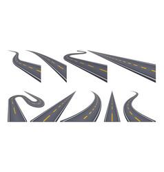 Set of 9 asphalt road concepts in perspective vector