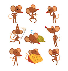 Set of cartoon mouse character in different vector