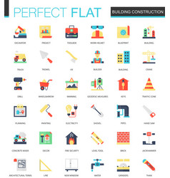 Set of flat building construction icons vector