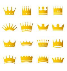 set of golden modern crowns icons vector image
