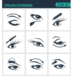 Set of modern icons Eyelash extensions vector