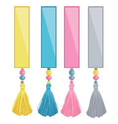 Set of ribbons with colorful decorative vector