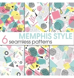 Set of six seamless patterns in memphis style vector