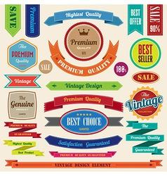 set retro vintage badges and labels vector image