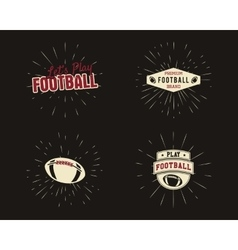 Set vintage rugand american football labels vector