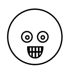 Silhouette emoticon face surprised expression vector